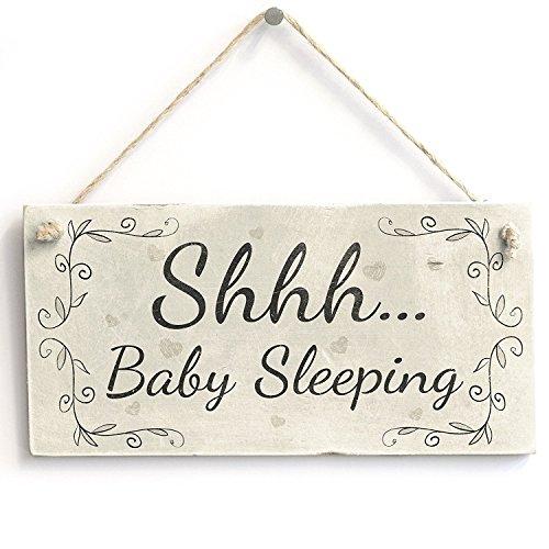 Shhh Baby Sleeping - Handmade Wood Door Sign/Plaque Newborn New Baby Gift Wooden Hanging Sign 4