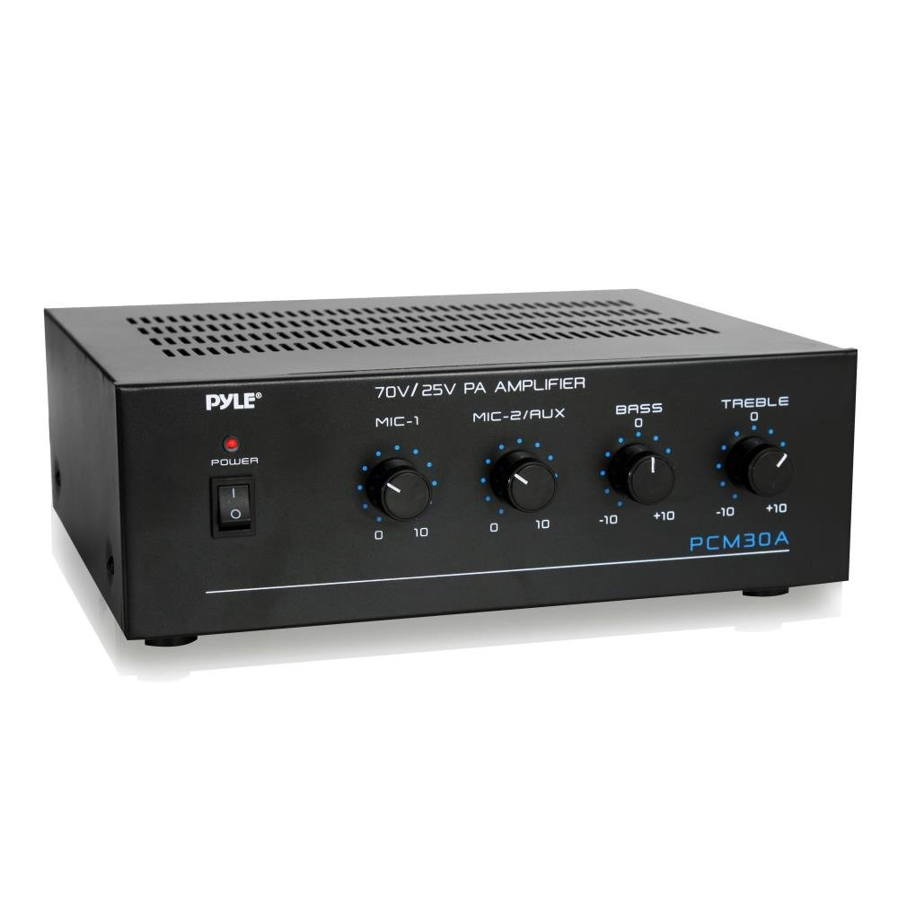 Compact Mini Home Power Amplifier - 60W Smart Small Indoor Audio Stereo Receiver w/ RCA, 2 Microphone IN, 25/70 Volt Outputs, LED, Input Selector, For PA, Amplified Speaker Sound System - Pyle PCM30A