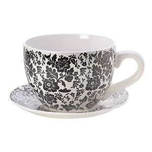 Gifts & Decor Floral Graphic Teacup Decorative Planter, Black/White