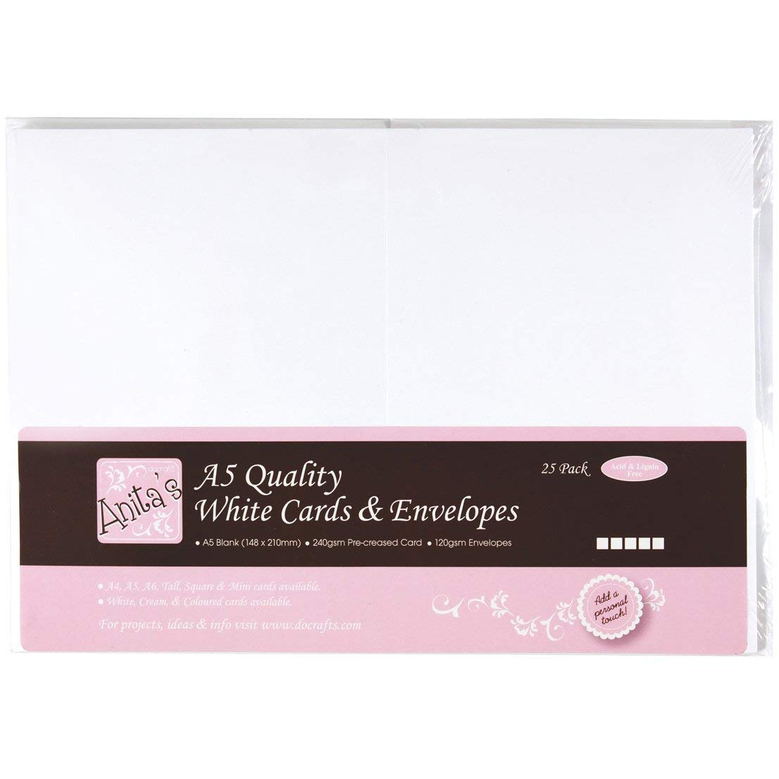 Anitas A5 Card and Envelope Pack of 25 White