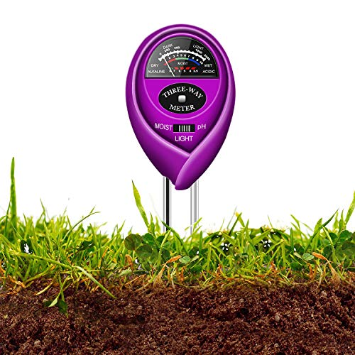 Updated Soil pH Meter,3-in-1 Moisture Sensor Meter/Light/pH Soil Test Kits Test Plant Moisture Meter for Garden, Farm, Lawn, Indoor & Outdoor Use (Yellow) (Purple) by Geekroom