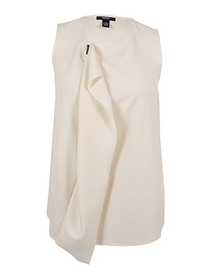 43cac4875ea62 Alfani Womens Plus Cascade Ruffled Sleeveless Blouse Ivory 1X at Amazon  Women s Clothing store