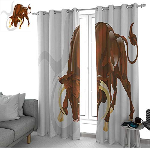 NUOMANAN Decor Curtains by Taurus,Angry Bull Birth Sign Astrology Animal Icon Cultural Western Spirituality Graphic,Redwood Cream,Wide Blackout Curtains, Keep Warm Draperies, Set of 2 52