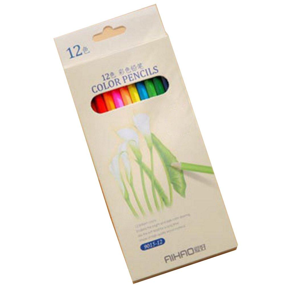 BUYITNOW木製色鉛筆pre-sharpened図面鉛筆セットfor Adult Coloring BookアートFineスケッチ B06XC15DSJ  12 pcs