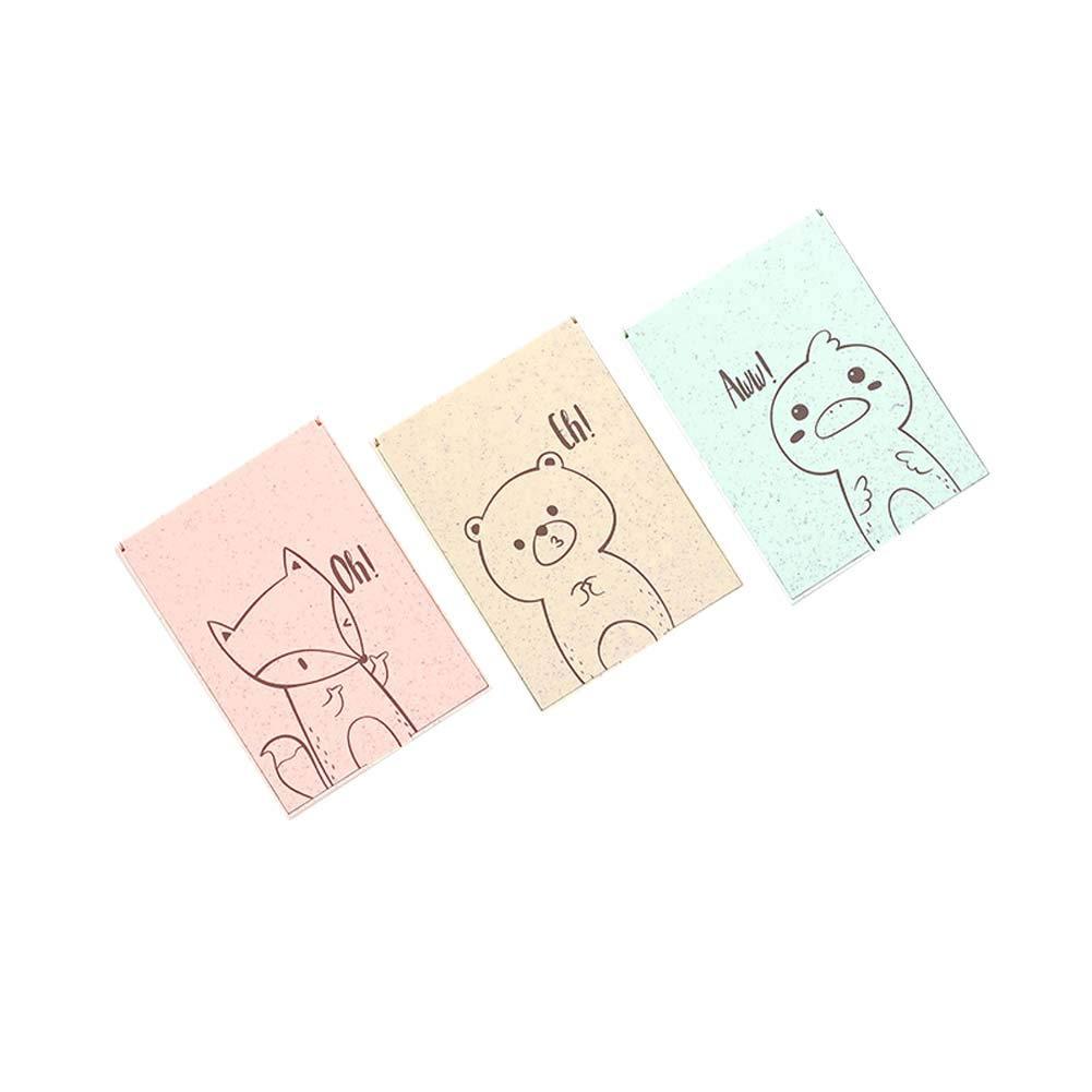 BALUZ Desktop Folding Mirror,Cartoon Animal Pattern Portable Vanity Mirror with Stand for Kids Girls 3PCS Random