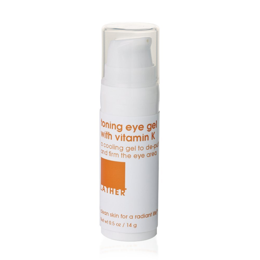 LATHER Toning Eye Gel with Vitamin K 0.5 oz – refreshing, toning and soothing gel eye treatment for the delicate eye area