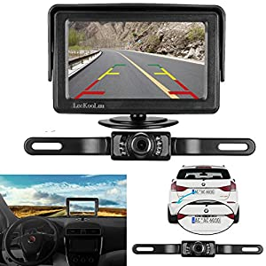 LeeKooLuu Backup Camera and Monitor Kit for Car/Vehicle/Truck Waterproof Night Vision License Plate rear view Camera wire Single power source Rear view/Fulltime view Optional 4.3 Display Grid Lines