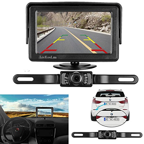 LeeKooLuu Backup Camera and Monitor Kit for Car/Vehicle/Truck Waterproof Night Vision License Plate rear view Camera wire Single power source Rear view/Fulltime view Optional 4.3 Display Grid Lines (Back Up Reverse Sensors)