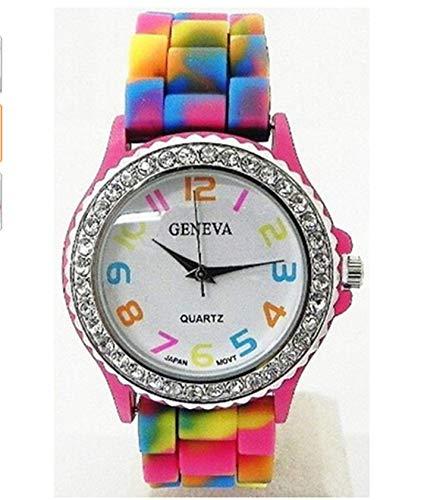 Waist Watch New Best-Selling Woman Watches Brand Luxury Fashion Causal Geneva Rainbow Crystal Rhinestone Watch Silicone Jelly Link ()