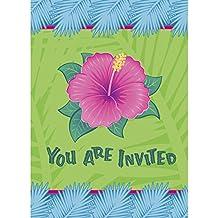 Hawaiian Luau 'Tropical Bloom' Invitations w/ Envelopes (8ct)