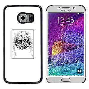 LECELL--Funda protectora / Cubierta / Piel For Samsung Galaxy S6 EDGE -- Zombie Head - White Walker --