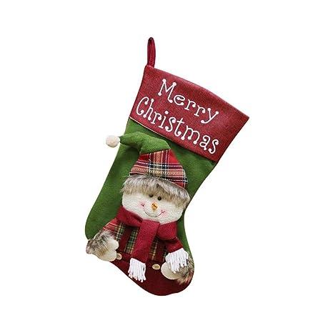 iStary 2018 Navidad Año Nuevo Calcetin Cuadros De Santa Claus Regalo Del Caramelo Decoración Del Bolso