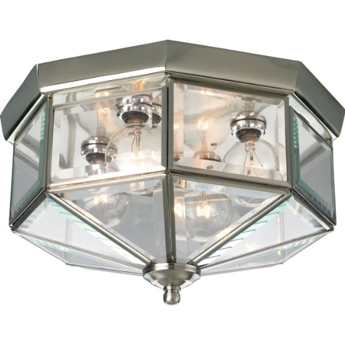 Beveled Light Glass Clear Fixture - Progress Lighting P5789-09 Octagonal Close-To-Ceiling Fixture with Clear Bound Beveled Glass, Brushed Nickel