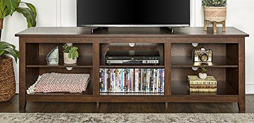 WE Furniture 70″ Wood Media TV Stand Storage Console – Traditional Brown