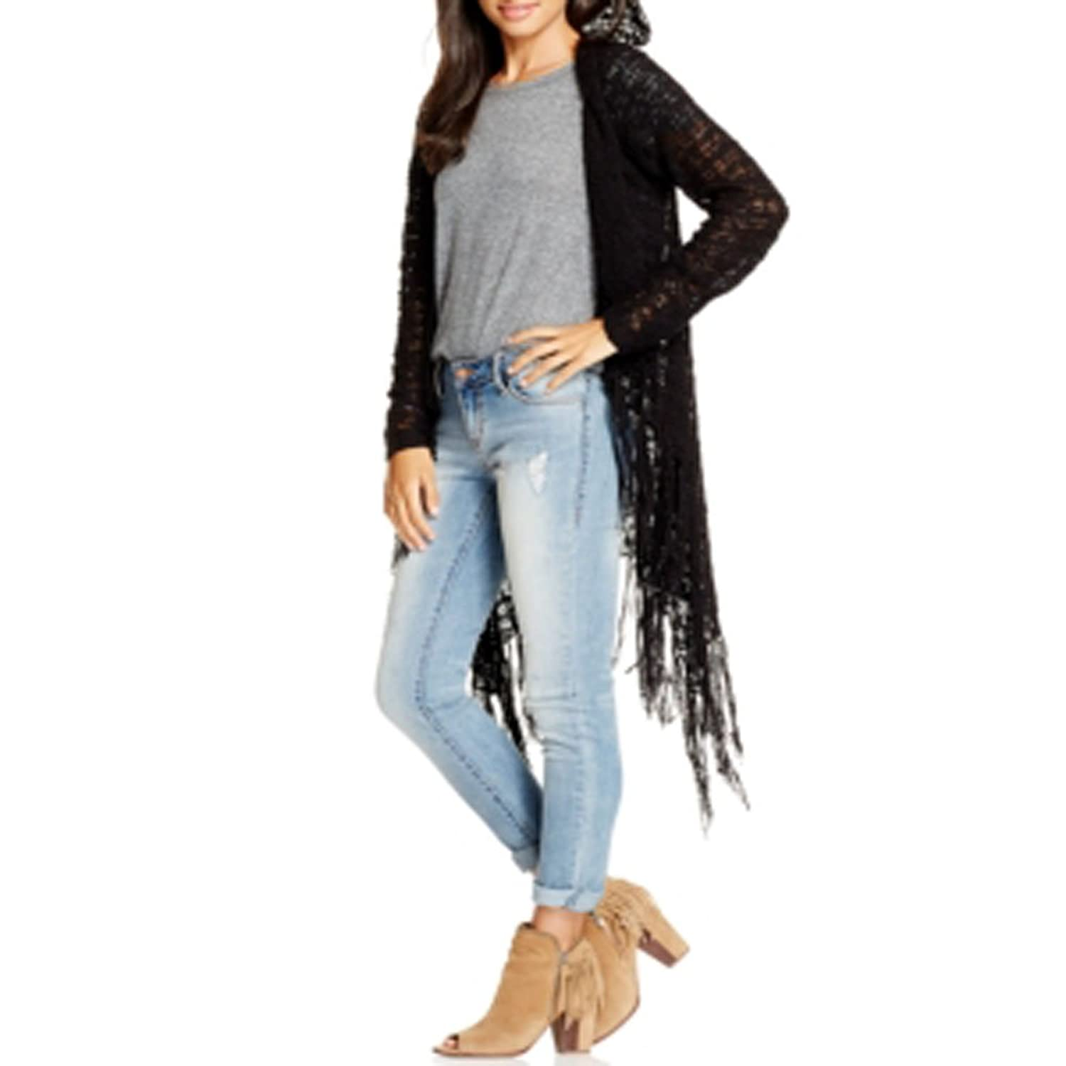 American Rag Hooded Open-Knit Fringed Sweater Black X-Small