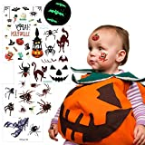 spider Halloween Temporary Tattoos for Kids, Fake Spider Tattoos 4 Sheets for Trick or Treat Bags for Children Birthday Party Favor Fall Festival, VIWIEU Glow in the Dark Waterproof Body Stickers for Women