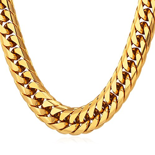 (U7 Men Hip Hop Chunky Chain Stainless Steel/Black Gum/18K Gold Plated Jewelry Necklace,4 Length,12mm Wide (18 inches,)