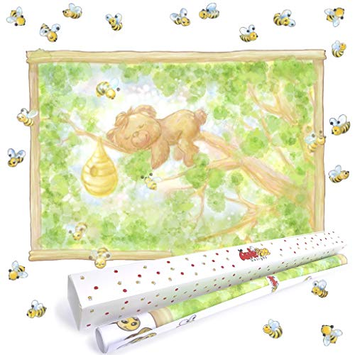 Woodland Animals Large Wall Decals for Baby Room. Little Baby Bear on a Tree with Bumble Bees Wall Art for Woodland Nursery Decor. Peel and Stick Forest Animals Murals for Woodland Theme Baby Shower.