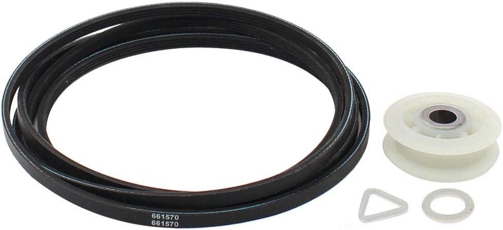 ApplianPar 279640 Dryer Idler Roller Pulley + 661570 Dryer Drum Belt for Whirlpool Kenmore 3389728, 3387610, 661570VP, 3388672, 697692, AP3094197, W10468057