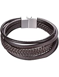 "<span class=""a-offscreen"">[Sponsored]</span>Men Women Braided Leather Bracelets Biker Surfer Wrap Bracelet Magnet Clasp 21CM 8.3 Inch"
