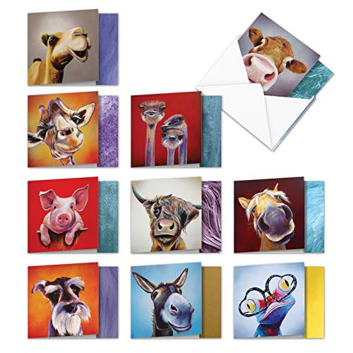 10 Boxed Animal Magnetism Assorted Blank Notes Cards with Envelopes 4 x 5.12 inch - Funny square-Top All Occasion Greetings w/ Dog, Cow, Horse - Colorful Bulk Stationery AMQ6218OCB-B1x10