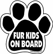 Imagine This Fur Kids on Board Paw Car Magnet, 5-1/2-Inch by 5-1/2-Inch