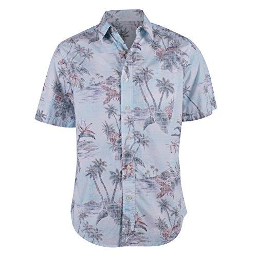 Campia Moda Mens Washed Cotton Modern Fit Print Shirt (Aqua Palm Tree Print, (Aqua Hawaiian Print)