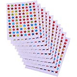 eBoot Assorted Colors Star Stickers Labels, 10 Sheet