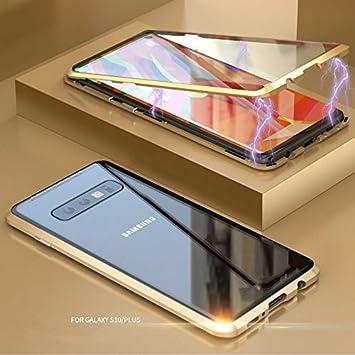 Funda Samsung Galaxy S9 Plus, Absorción Magnética Carcasa[Marco de Metal] [Front and Back Tempered Glass] Slim Fit Ultra Carcasa de Peso Ligero, para ...
