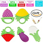Baby Teething Toys, BPA Free Natural Organic Freezer Soft Silicone Fruit Vegetable Teethers Set with Pacifier Clip for 3 to 12 Months Babies, Infants, Toddlers (Pack of 5)
