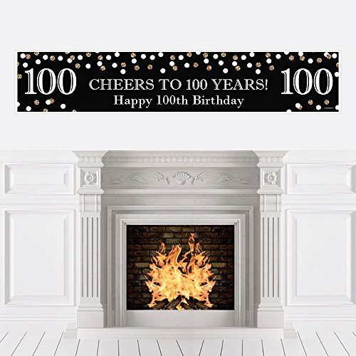 Big Dot of Happiness Adult 100th Birthday - Gold - Birthday Party Decorations Party Banner]()