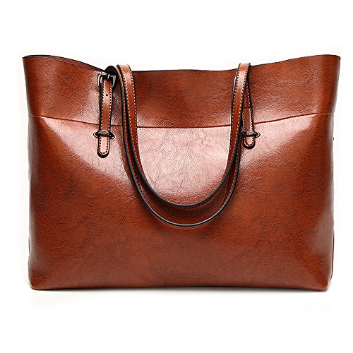 Leather Tote Bag for Women, Large Commute Handbag Shoulder Bag Lady Zipper Women's Work Satchel Bag (brown)