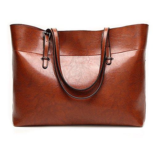 Leather Tote Bag for Women, Large Commute Handbag Shoulder Bag Lady Zipper Women's Work Satchel Bag (brown) by Nikauto