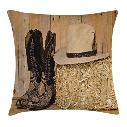 Western Decor Throw Pillow Cushion Cover by Ambesonne, Sn...
