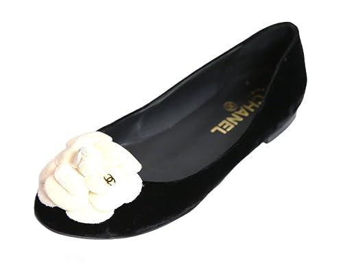 f67cb47bc Chanel Terciopelo Skimmers Bailarinas Zapatos con Flor en Negro: Amazon.es:  Zapatos y complementos