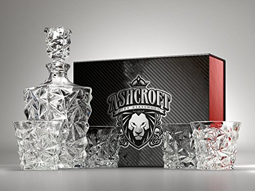5-Piece Diamond Cut Whiskey Decanter Set. 4 Glasses and Scotch Decanter with Stopper - Unique Elegant Dishwasher Safe Glass Liquor Bourbon Decanter Ultra-Clarity Glassware by Ashcroft - Cut Crystal Glass Box