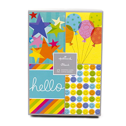 Hallmark Assorted Blank Inside Greeting Cards (Cheerful Designs, 12 Cards and (Balloons Greeting Card)