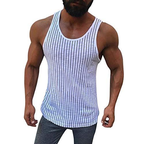 (YKARITIANNA Mens Tank Tops, 2019 Summer New Fitness Muscle Striped Sleeveless Bodybuilding Tight-Drying Vest)