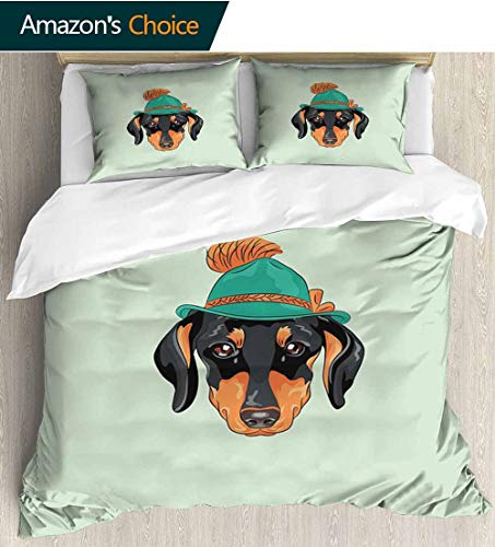 (shirlyhome Dachshund 3 Piece Quilt Coverlet Bedspread,Hipster Pure Breed Dog Silhouette in a Green Tyrolean Hat Cute Dachshund Puppy Bedding Set for Kids,Boys and Teens 68
