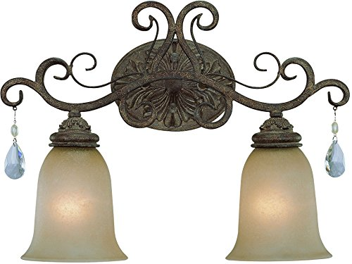 Craftmade 25602-FR Englewood Crystal Glass Vanity Wall Lighting, 2-Light 200 Watts 19 W x 14 H , French Roast