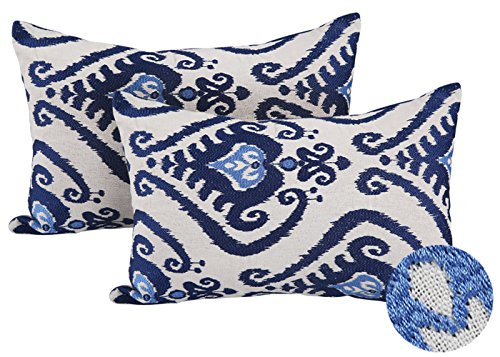 Deconovo Pack of 2 Embroidered Throw Cushion Covers Oblong F