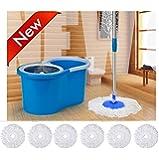 PEony Easy Magic Floor Mop 360° Bucket PVC With 6 Micro Fiber Refills With Wheels (Random Color)