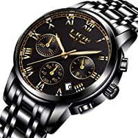 Mens Watches Sports Analog Quartz Watch Gents Fashion Business Full Steel Waterproof Chronograph Watch Man LIGE Date Calendar Gold Wristwatch Black