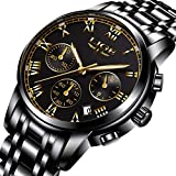 Mens Watches Sports Analog Quartz Watch Gents Fashion Business Full Steel Waterproof Chronograph Watch Man LIGE Date Calendar Gold Wristwatch Black