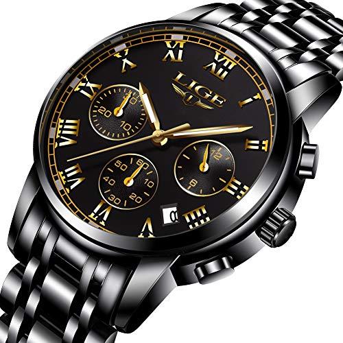 Analog Quartz Watch Gents Fashion Business Full Steel Waterproof Chronograph Watch Man LIGE Date Calendar Gold Wristwatch Black ()