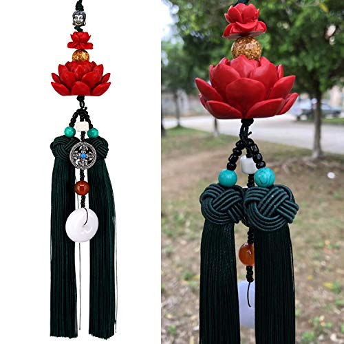 Lotus Double Tassel Car Hanging Decoration with Chinese Knot, Car Charm Rear View Mirror Pendant Car Styling Accessories Auto Decoration Gift (A)
