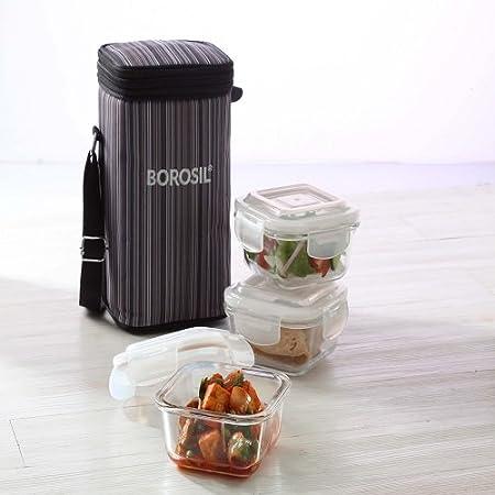 Borosil vidrio de borosilicato microondas Klip N Store caja de ...