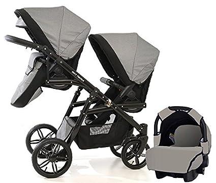 Carro doble (gemelar) niños diferentes edades. 2 sillas + 1 portabebe + accesorios