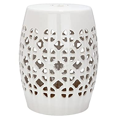 Safavieh Castle Gardens Collection Circle Lattice Ceramic Garden Stool, Cream