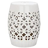 Safavieh Castle Gardens Collection Circle Lattice Cream Ceramic Garden Stool For Sale